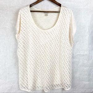 Lucky Brand Cap Sleeve Crochet Blouse Size 2X